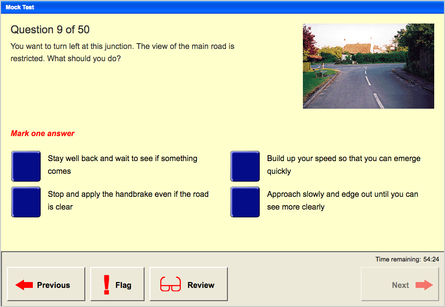 Mock Theory Test Screen Example