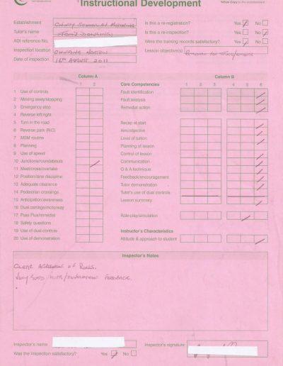 DSA Tutor Assessment Report - 2011
